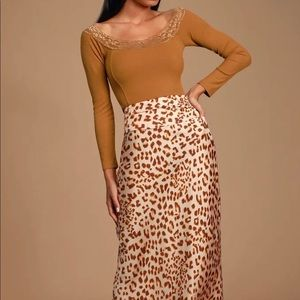 Better Days Camel Lace Ribbed Off-the-Shoulder Top